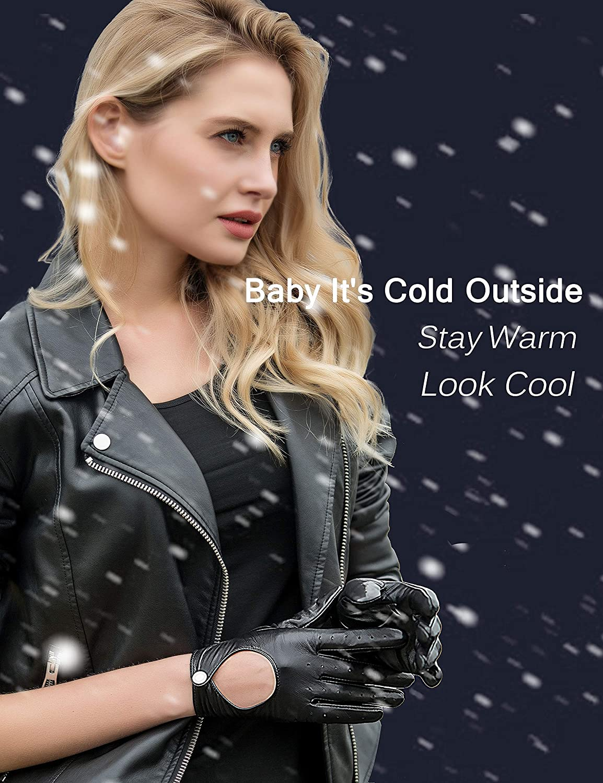 YISEVEN Femme Hiver Gants en cuir peau de mouton chaud double Doigts Complet de Conduite pour le Froid Gothique Style