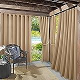 """Sun Zero Beacon Indoor Outdoor UPF 50+ Curtain Panel, 52"""" x 84"""", Linen Beige"""