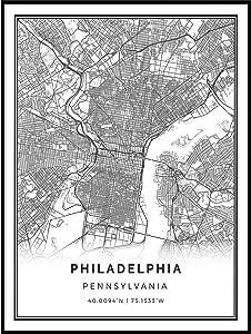Squareious Philadelphia map Poster Print   Modern Black and White Wall Art   Scandinavian Home Decor   Pennsylvania City Prints Artwork   Fine Art Posters 24x36