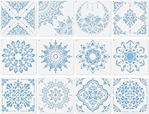 Midenco 12 Pcs (12x12inch) Prosperity Mandala Stencil - Wall Furniture Floor Tile Painting Stencils Reusable Plastic Spray Paint Stencils for Painting Large Pattern(Style-00)