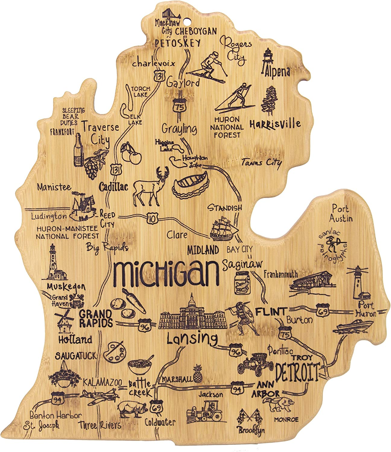 Totally Bamboo Michigan State Destination Bamboo Serving and Cutting Board