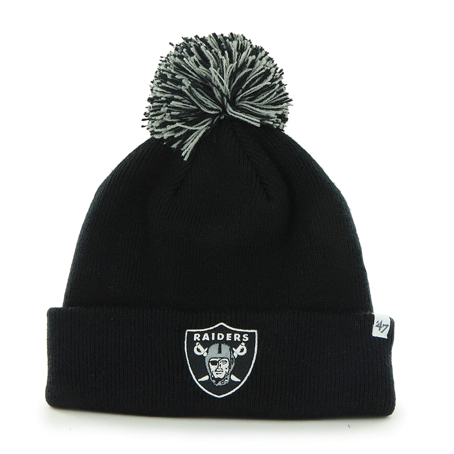 1e2cbe80d7d Oakland Raiders Black Pom Pom 2-Sided Beanie Hat - NFL LA Cuffed Winter Knit  Toque Cap by  47  Amazon.co.uk  Sports   Outdoors