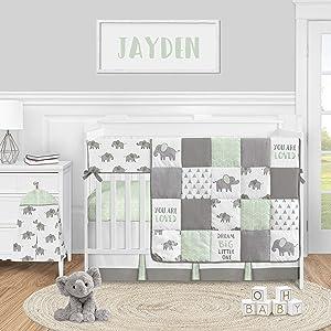 Sweet Jojo Designs Mint Elephant Safari Baby Boy Girl Nursery Crib Bedding Set - 5 Pieces - Green Grey and White Watercolor Animal