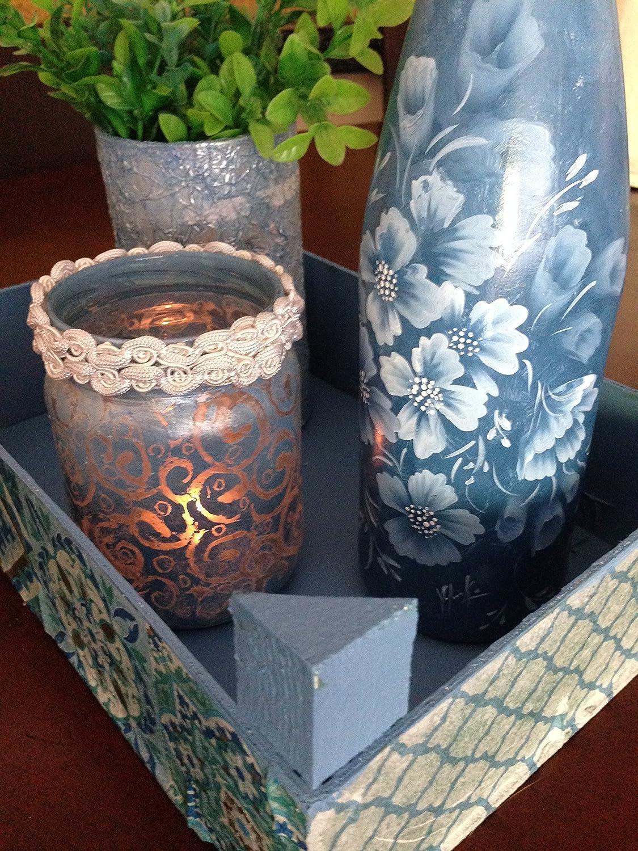 conjunto de cuatro piezas ,caja reciclada ,botella y tarro de cristal pintados a mano ,y un pequeño jarron: Amazon.es: Handmade