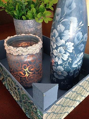 conjunto de cuatro piezas ,caja reciclada ,botella y tarro de cristal pintados a mano