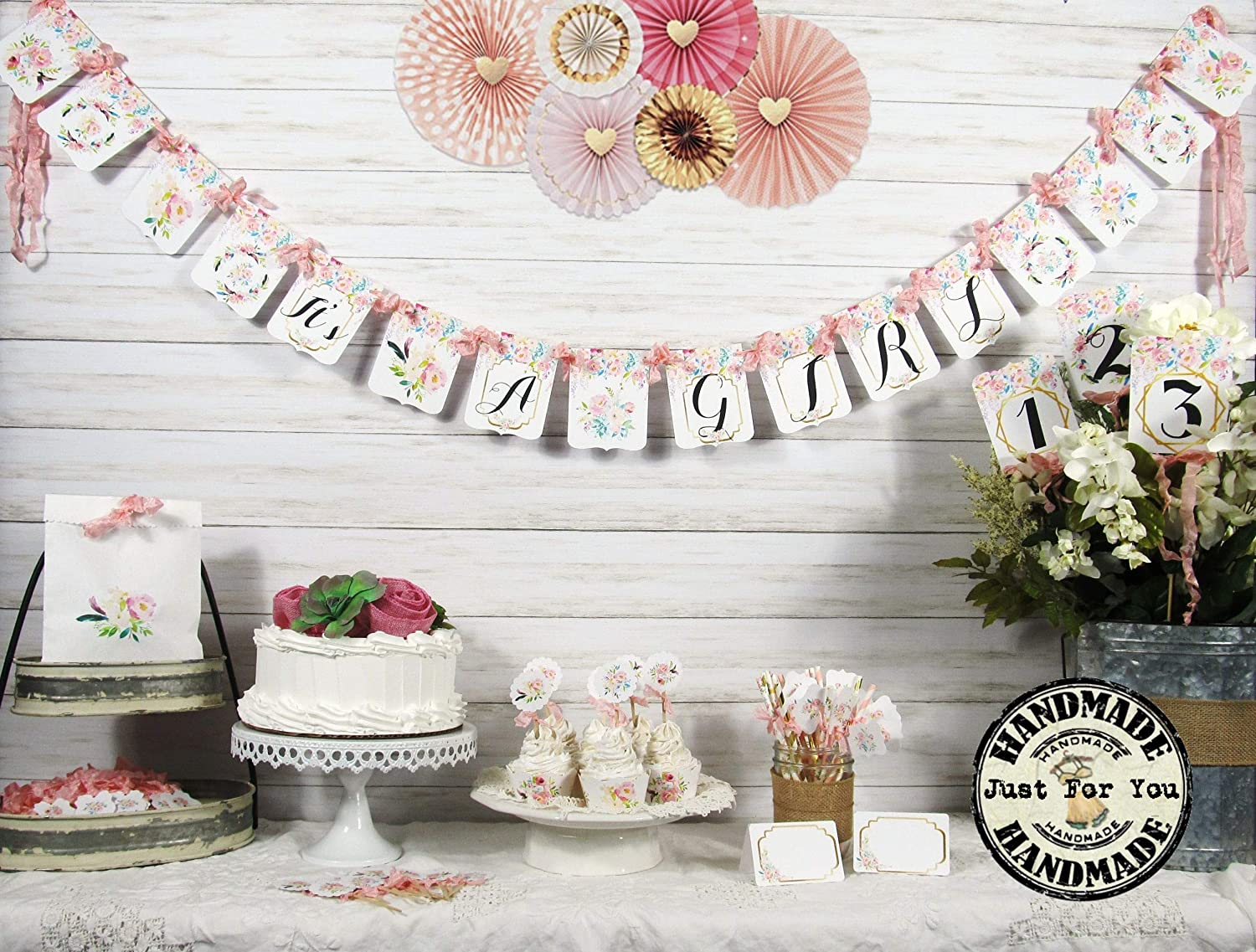 Its a Girl Peach Pink Watercolor Floral Baby Shower Decorations Package