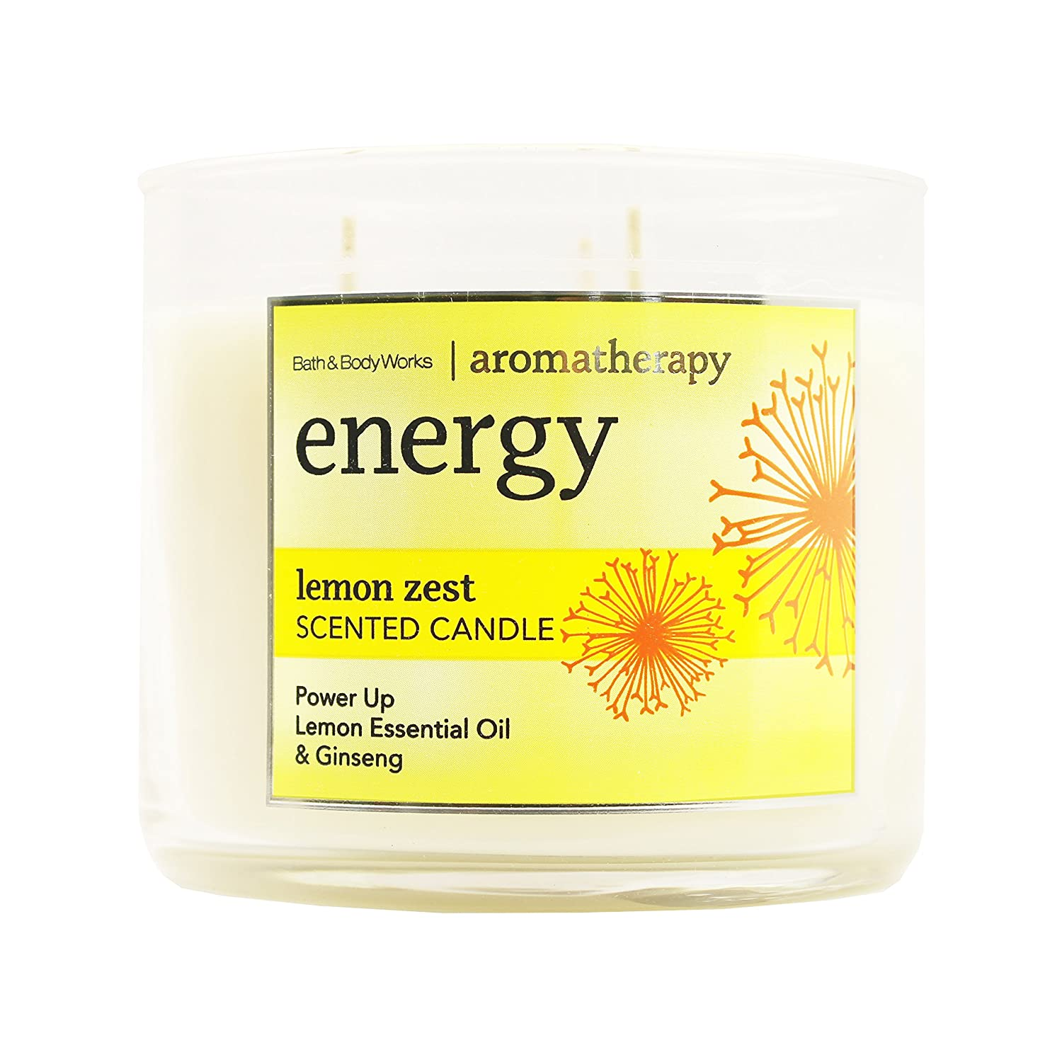 Bath Body Works 3 Wick Lemon Zest Aromatherapy Candle Energy 3 Wick 14.5 Ounce Bath and Body Works