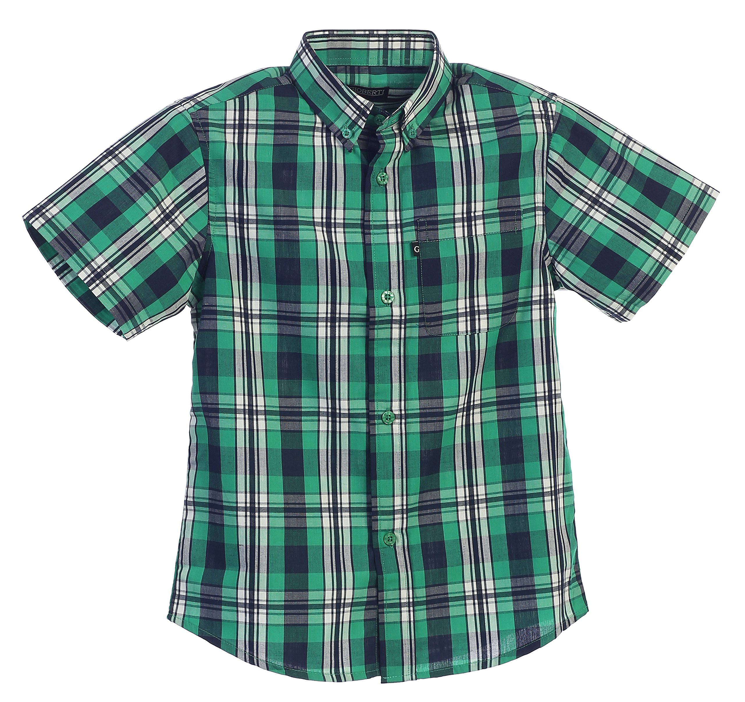 Gioberti Little Boys Plaid Short Sleeve Shirt, Green/Black, Size 5 by Gioberti (Image #1)