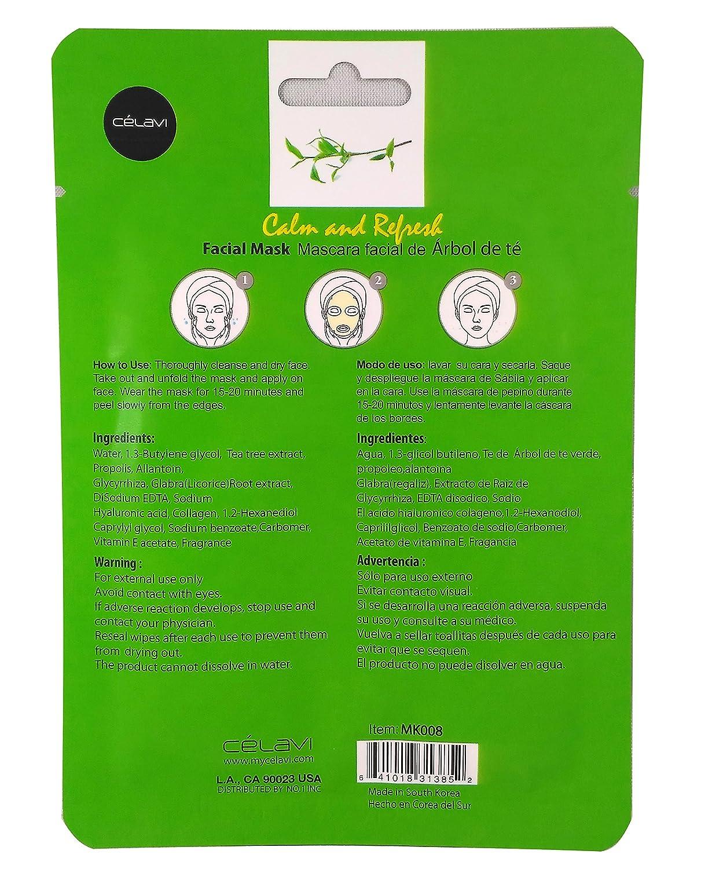 Amazon.com : Celavi Essence Facial Mask Paper Sheet Korea Skin Care Moisturizing 24 Pack (Tea Tree) : Beauty
