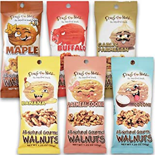 product image for Crazy Go Nuts Walnuts Sampler 6-Pack - Banana, Buffalo, Coconut, Garlic Parmesan, Maple, and Oatmeal Cookie - Healthy Snacks, Gluten Free, Superfood, Natural, Omega 3 Fatty Acids, and Antioxidants