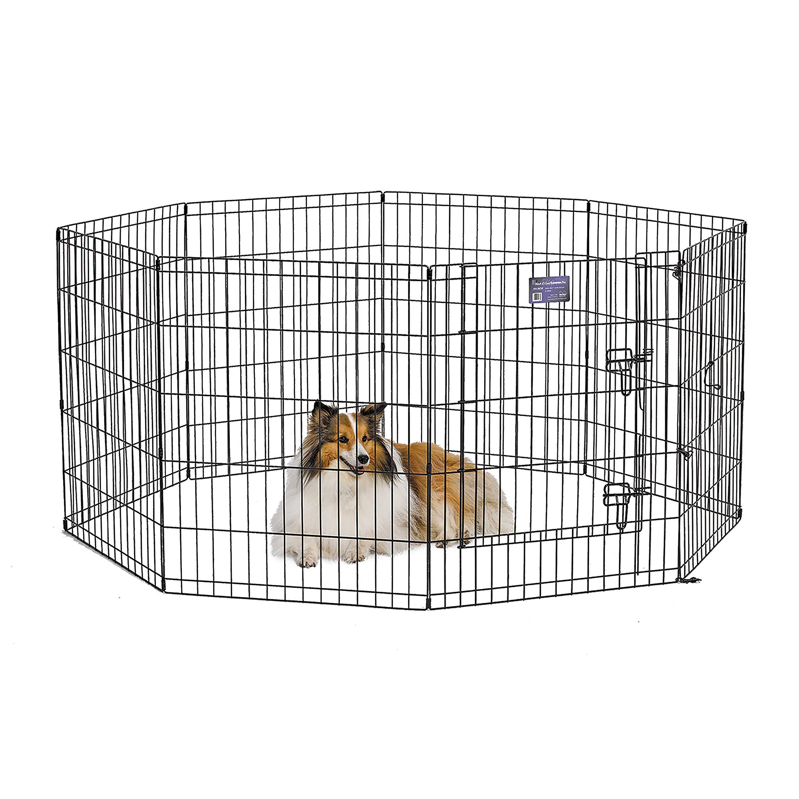 MidWest Foldable Metal Exercise Pen / Pet Playpen. Black w/ door, 24''W x 30''H by MidWest Homes for Pets