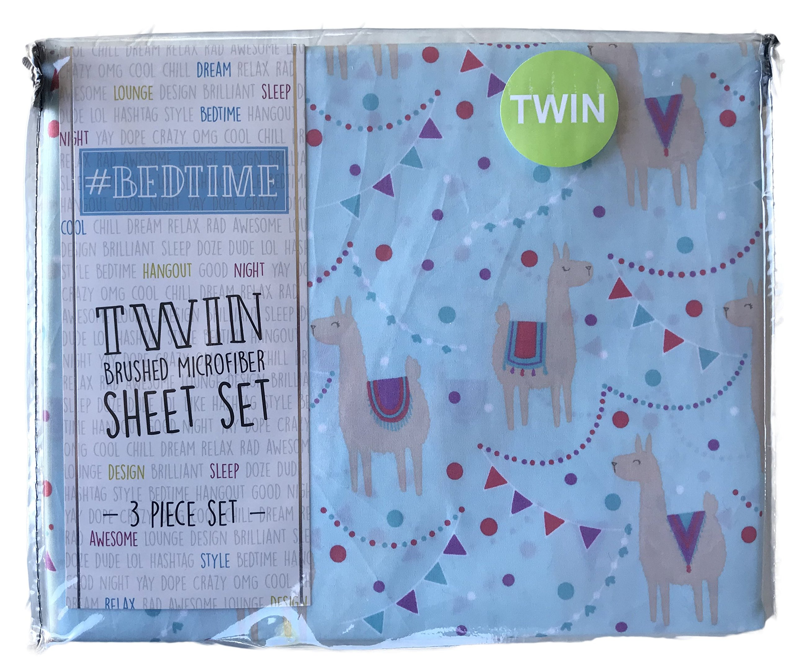 #Bedtime Festive Party Llamas 3 Piece Twin Novelty Sheet Set by Bed time (Image #1)