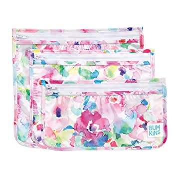 Bumkins TSA Approved Toiletry Bag, Travel Bag, Quart Zip Pouch, PVC-Free, Vinyl-Free, Clear Sided, Set of 3 – Watercolor, 5
