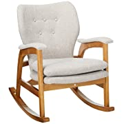 Christopher Knight Home Bethany Mid Century Fabric Rocking Chair (Wheat), Light Walnut