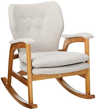 Groovy Christopher Knight Home Bethany Mid Century Fabric Rocking Chair Wheat Light Walnut Ibusinesslaw Wood Chair Design Ideas Ibusinesslaworg