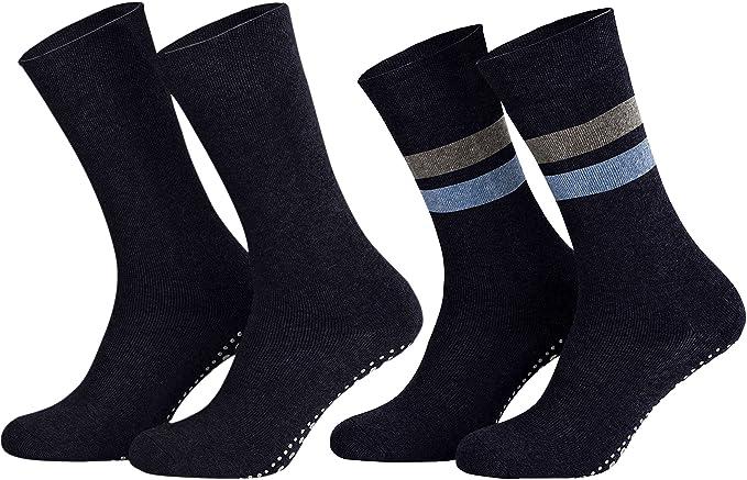 Sockenkauf24 8600 - 3 o 6 pares de calcetines para hombre y mujer, planta antideslizante con ABS, color negro, azul y gris
