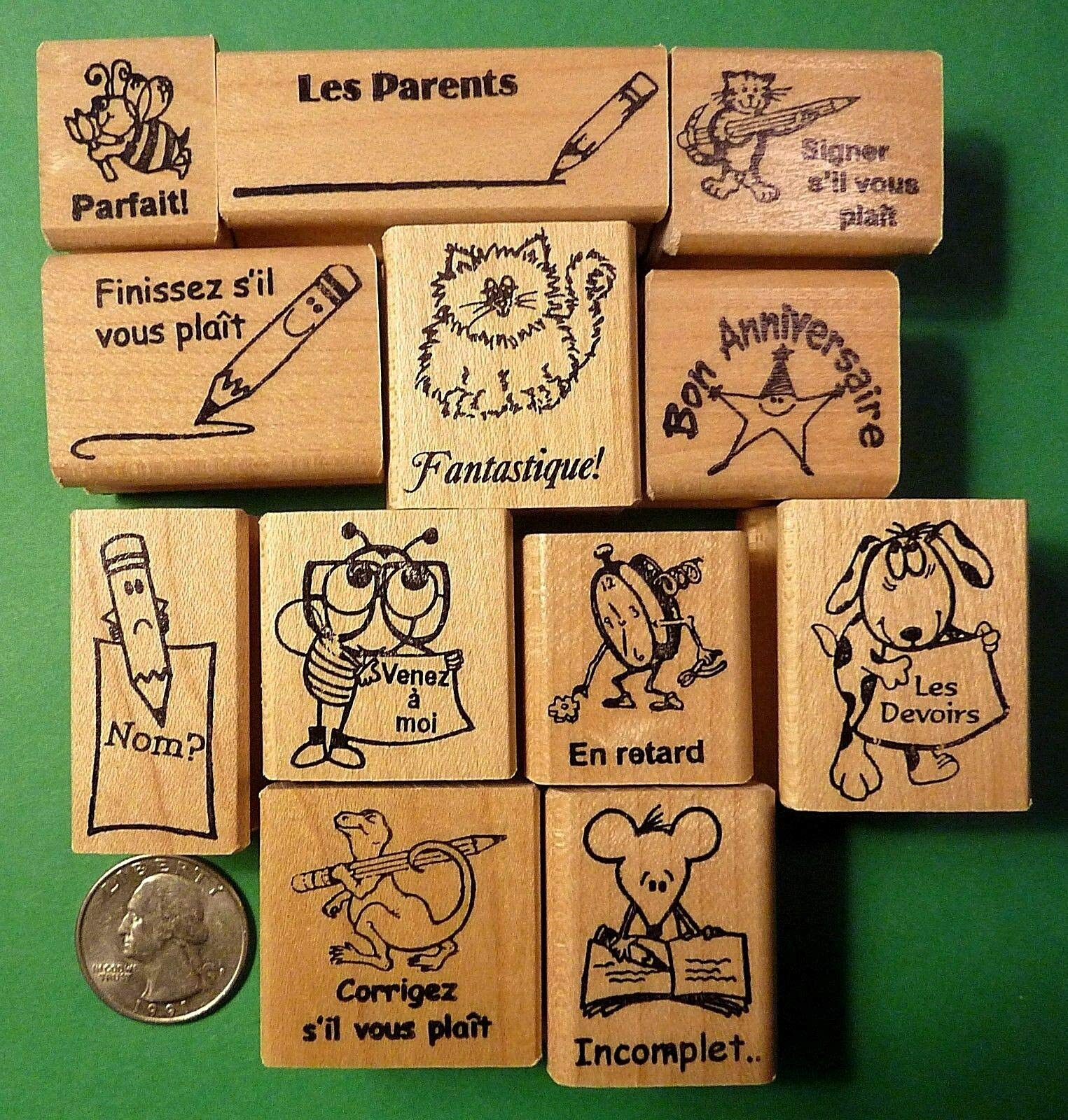 Teacher's French Only 12-Piece Rubber Stamp Asst, Wood Mounted - Rubber Stamp Wood Carving Blocks by Wooden Stamps