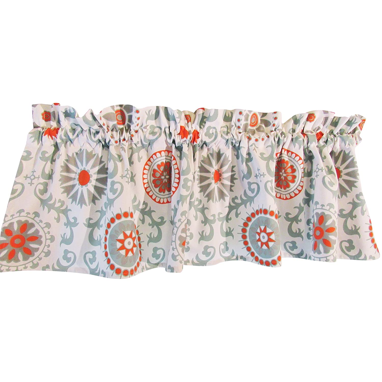 Crabtree Collection Curtain Medallion Valance for Windows - Medium Blue/Orange Medallion 40cm x 152cm PWV-2016
