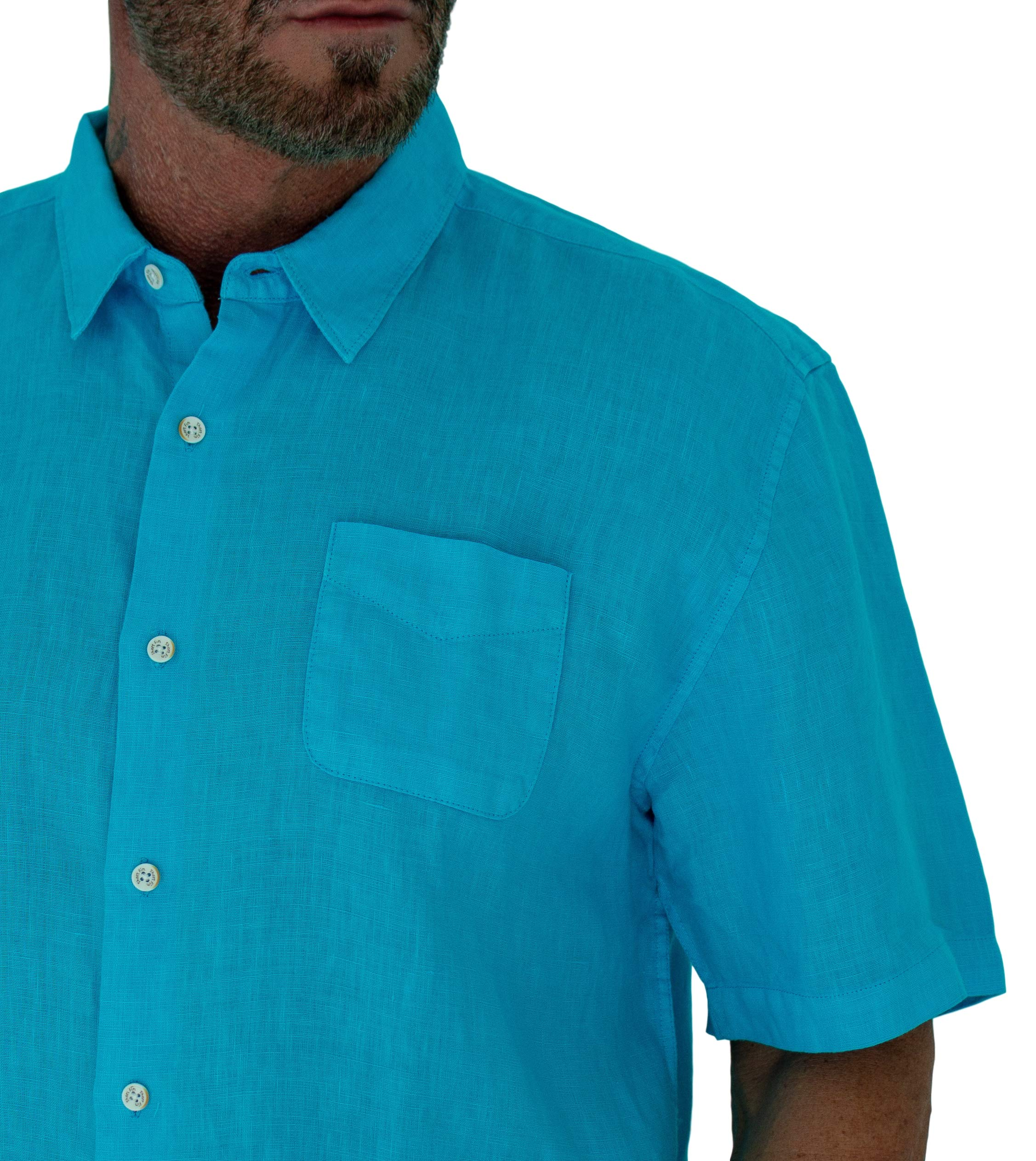 Short Fin Short Sleeve Button Down Linen Shirt (Size X Large, Neon Blue L8040L) by Short Fin (Image #4)