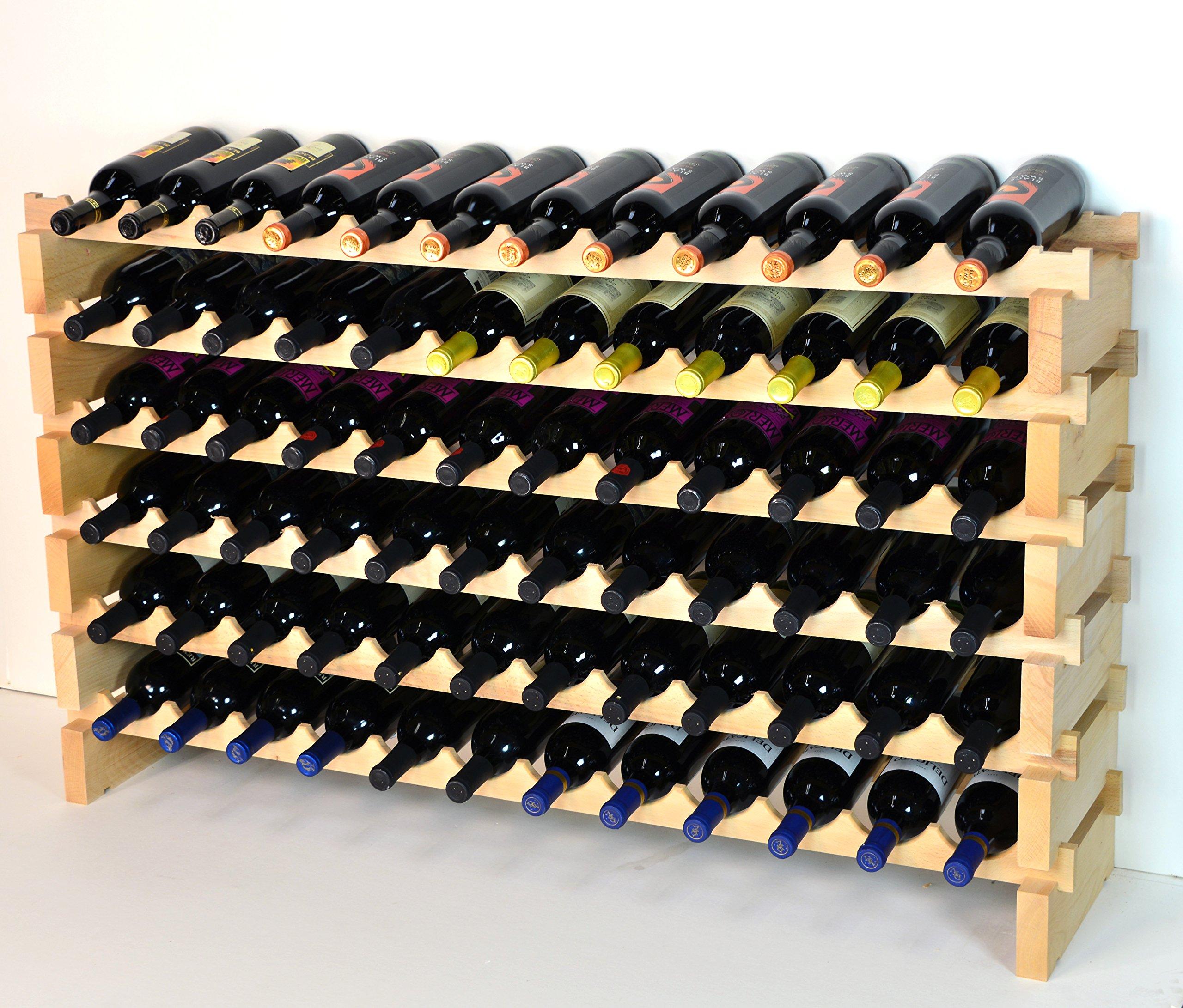 Modular Wine Rack Beachwood 48-144 Bottle Capacity 12 Bottles Across up to 12 Rows Newest Improved Model (72 Bottles - 6 Rows)