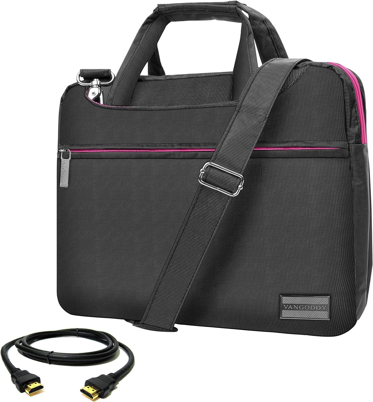 Pink Trim Slim 13.3 inch Laptop Messenger Bag with HDMI Cable for Asus ChromeBook, Flip, NovaGo, VivoBook, ZenBook