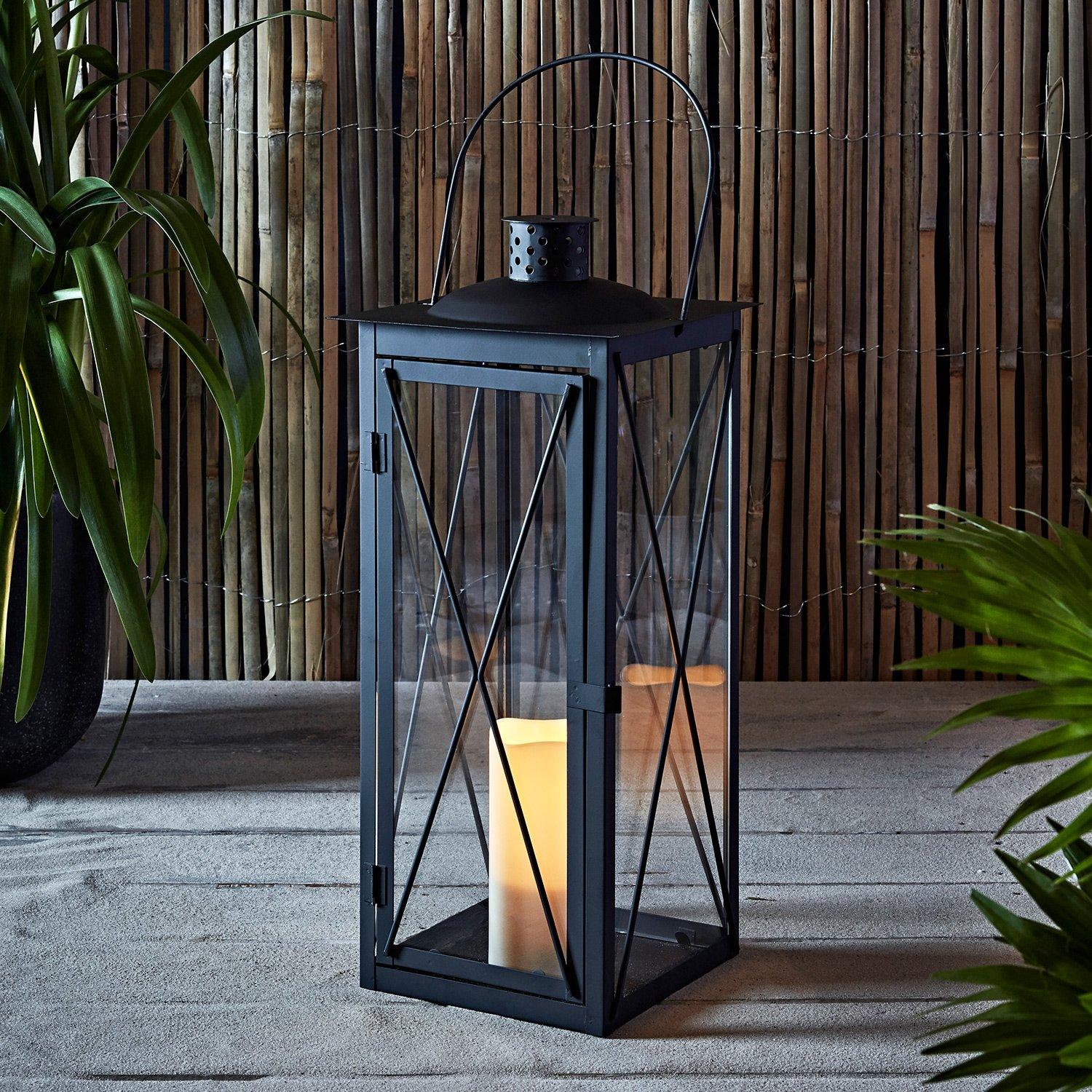 Tall Black Metal Battery Operated LED Flameless Candle Lantern for Indoor Outdoor Use