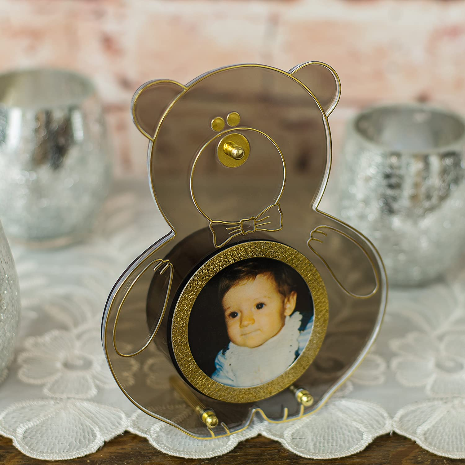 Panda Bear Shaped Gold Tone Brass Musical Photo Frame Plays Its A Small World