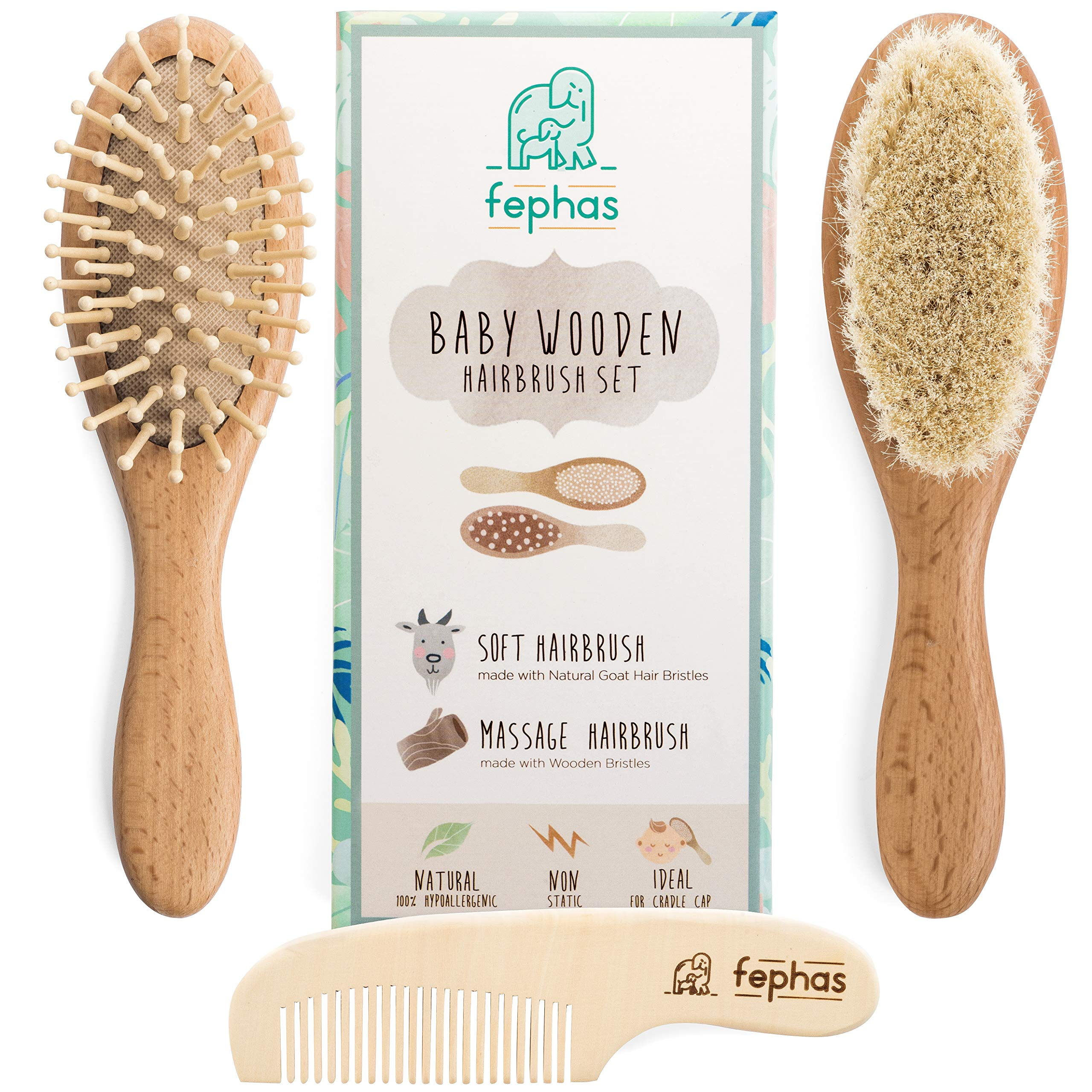 Wooden Baby Hair Brush and Comb Set for Newborns and Toddlers Girl/Boy | Natural Soft Goat Bristles Hairbrush Ideal for Cradle Cap | Wood Bristles Baby Brush | Perfect Baby Shower and Registry Gift by fephas
