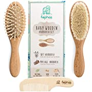 Wooden Baby Hair Brush and Comb Set for Newborns and Toddlers Girl/Boy | Natural Soft Goat Bristles Hairbrush Ideal for Cradle Cap | Wood Bristles Baby Brush | Perfect Baby Shower and Registry Gift