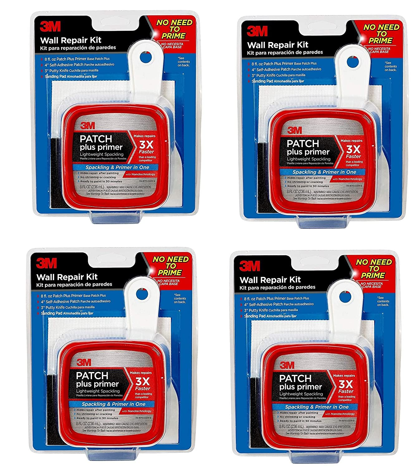 3M Patch Plus Primer Kit with 8 fl  oz Patch Plus Primer, Self-Adhesive  Patch, Putty Knife and Sanding Pad, 4 Pack