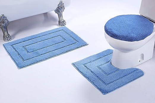NEW 3PC BATHROOM SET 1 BATH RUG 1 CONTOUR MAT 1 TOILET LID COVER #6 LIGHT BLUE