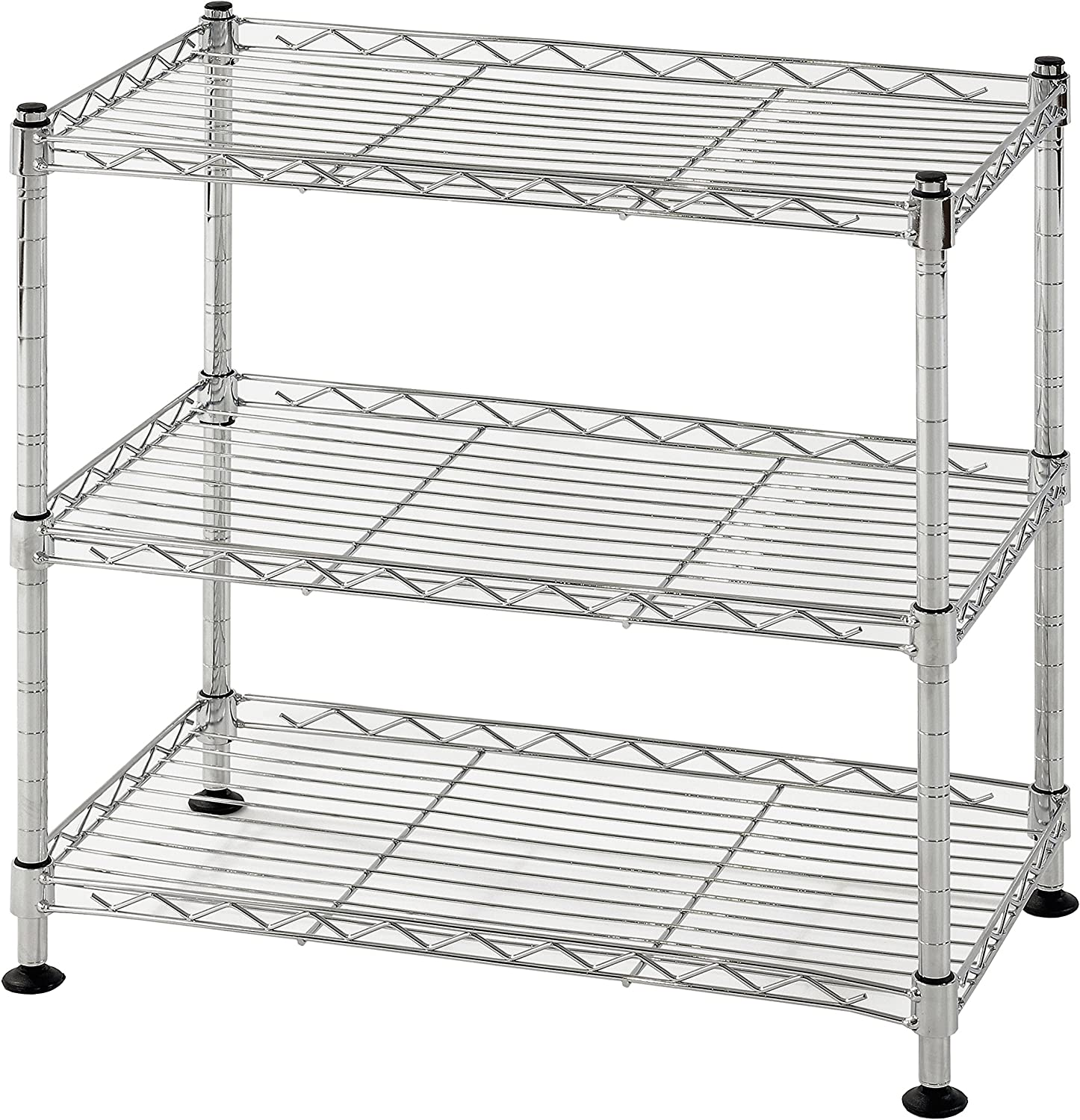 """Muscle Rack WS181018-C Steel Adjustable Wire Shelving, 3 Shelves, Chrome, 18"""" Height, 18"""" Width, 264 lb. Load Capacity"""