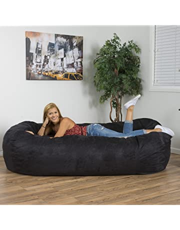Christopher Knight Home 294973 David Faux Suede 8 Feet Lounger Bean Bag  (Black) 2c1ba0ff58995