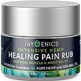 JAYGENICS Hemp Oil Healing Pain Rub: Pure Organic Hemp Pain Relief Cream 150mg | Anti-Inflammatory Arthritis, Back, Knee, Hands, Joints, Neck, Feet & Muscle Soreness Hemp Cream with 10% EMU Oil | 2Oz