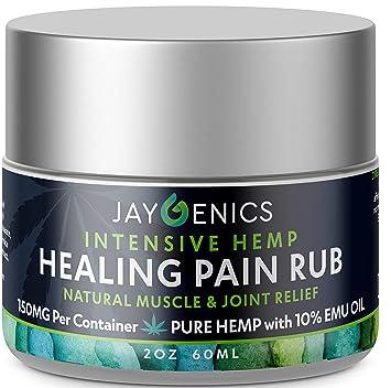 JAYGENICS Hemp Oil Healing Pain Rub: Pure Organic Hemp Pain Relief Cream  150mg   Anti-Inflammatory