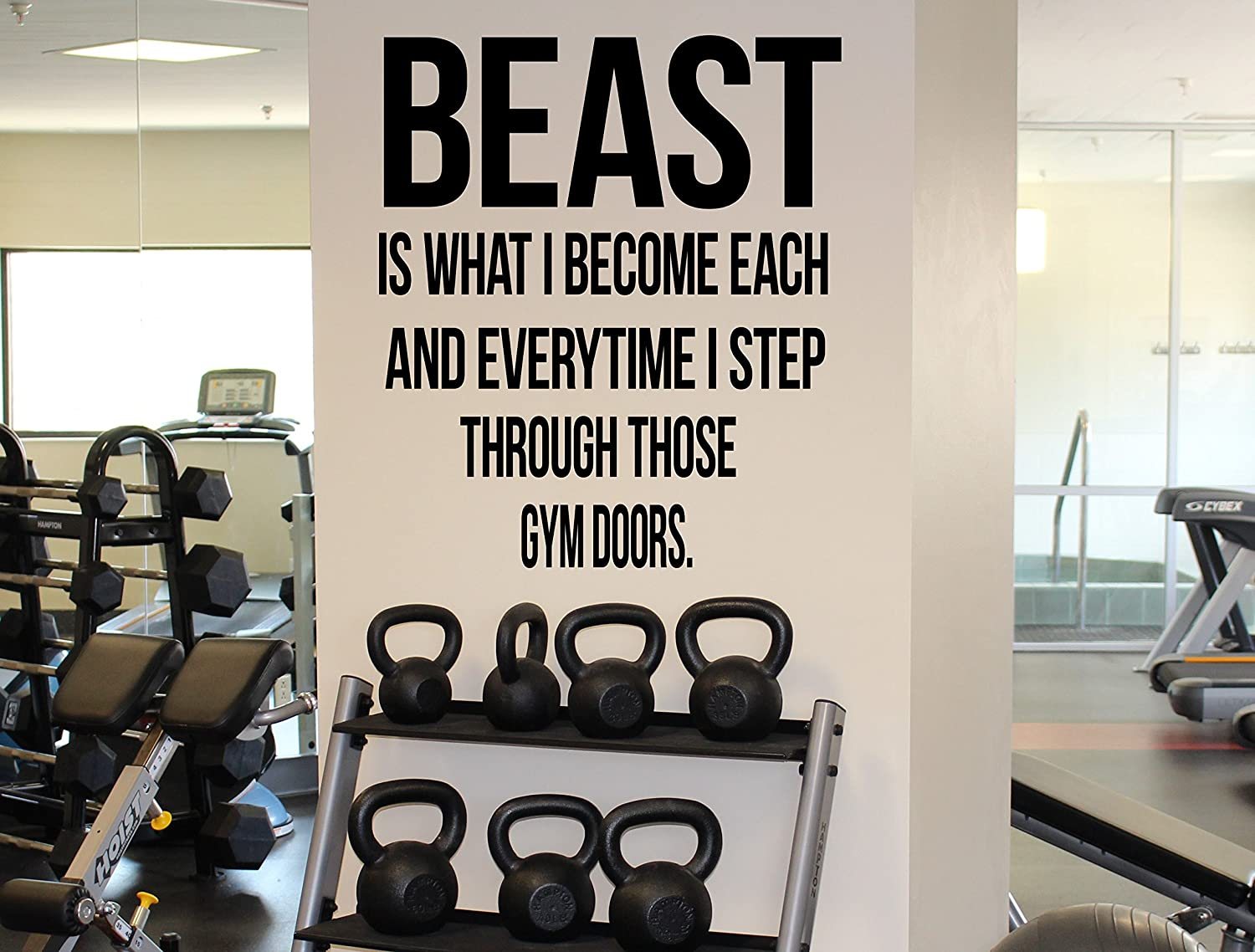 Amazon Com Gym Motivational Quote Greatness Stronger Quotes Vinyl Decal Fitness Wall Sticker Workout Room Interior 47 Fgm Kitchen Dining