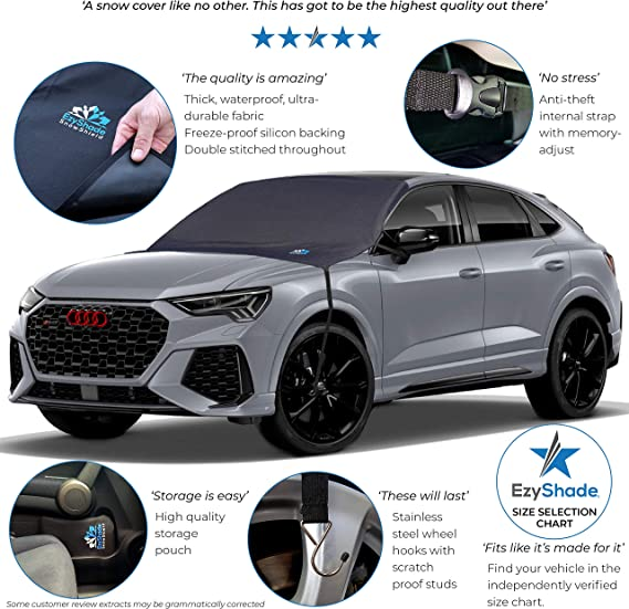 Extra Large Fits Most Car Truck SUV Van 2020 Newest Winter Windshield Snow Cover and Sunshade.4-Layer fabric。75x63x0.1 600D oxford cloth Straps Fixed Design. Frozen//Ice//Water//Snow Resistance
