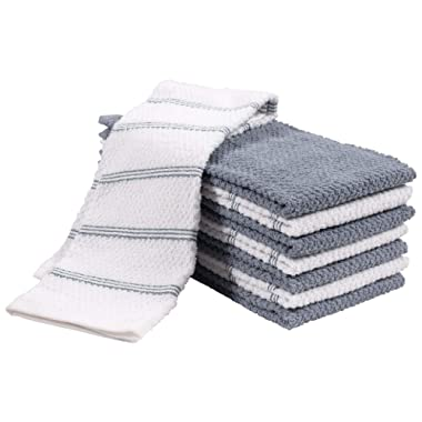 KAF Home Pantry Piedmont Terry Kitchen Towels | Set of 8, 16 x 26 inch, Absorbent Terry Cloth Dish Towels, Hand Towels, Tea Towels | Perfect for Kitchen Spills, Cooking, and Messes - Denim Blue