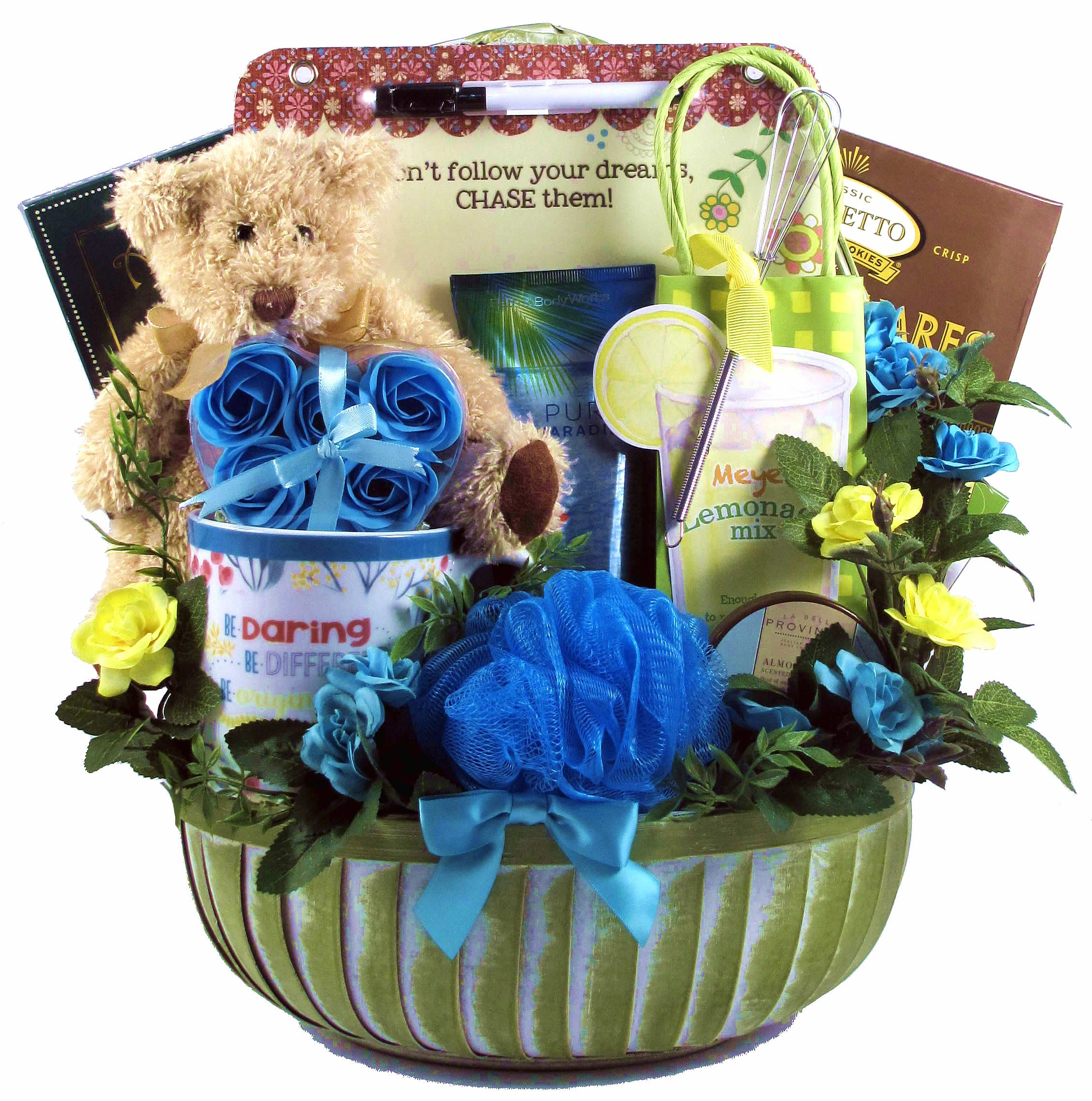 Gift Basket Village Chase Your Dreams!, Inspirational Gift Basket for Her, 9 Pound