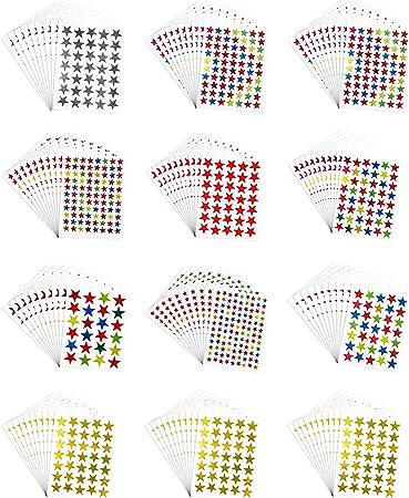 Pack de 6180 pcs autoadhesivo colores surtidos láser brillantes estrella pegatinas niños estudiantes recompensas profesores suministros: Amazon.es: Oficina y papelería