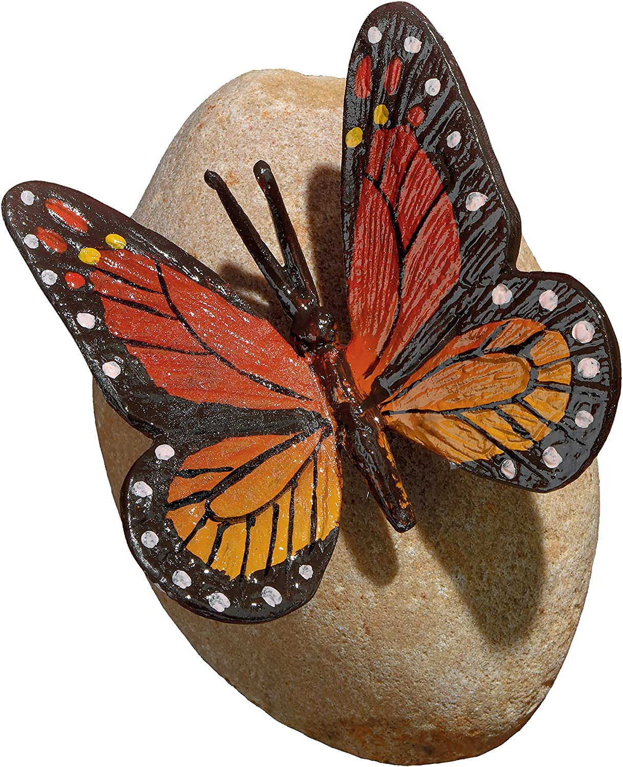 Amazon Com Design Toscano Mp7486 Viceroy Monarch Butterfly On Rock Statue Full Color Garden Outdoor