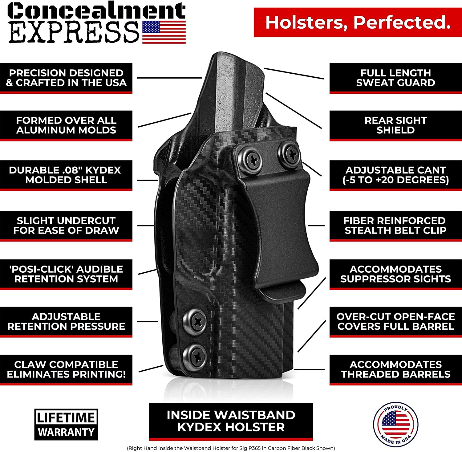 US Made CF BLK, RH Adj - Inside Waistband Concealed Carry Concealment Express IWB KYDEX Holster: fits Ruger SR22 Cant//Retention