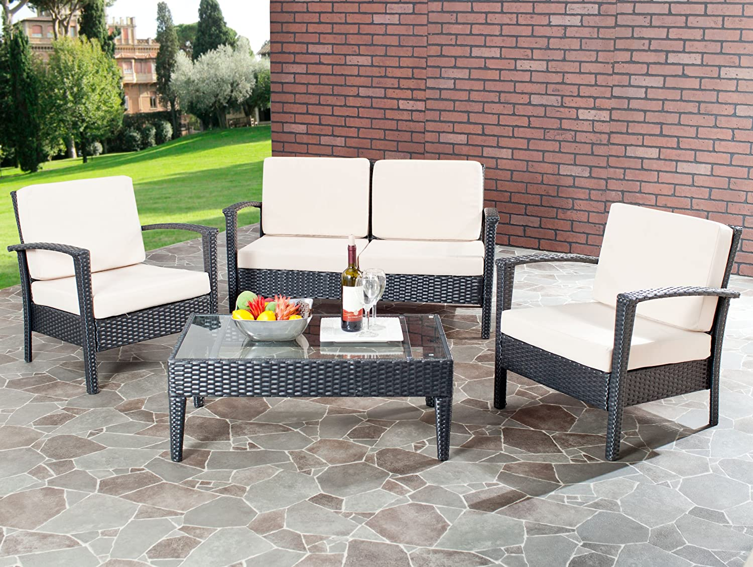 amazoncom safavieh home collection glass top 4piece patio furniture set outdoor and patio furniture sets patio lawn u0026 garden