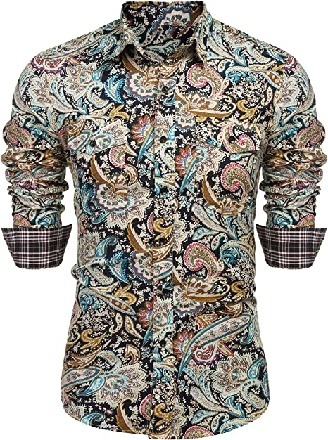 Colors Red Paisley Men Casual Shirt Turndown Collar Slim Fit T-Shirt Long Sleeve