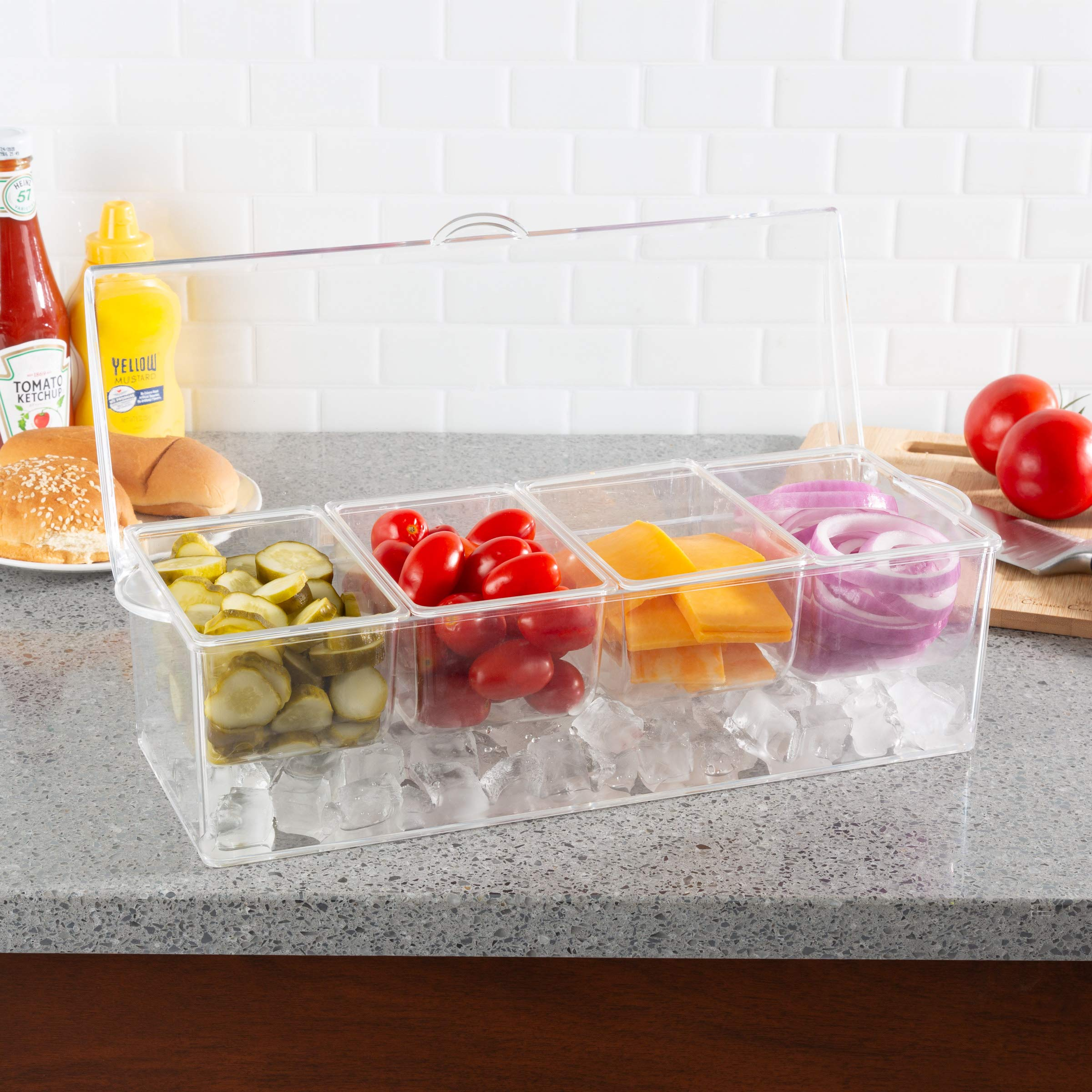 Classic Cuisine 82-KIT1084 Cold Condiment Tray Chilled Serving Container with Ice Chamber, 4 Compartments, Lid-For Dips, Dressings, Fruit, Veggies, and More, Clear