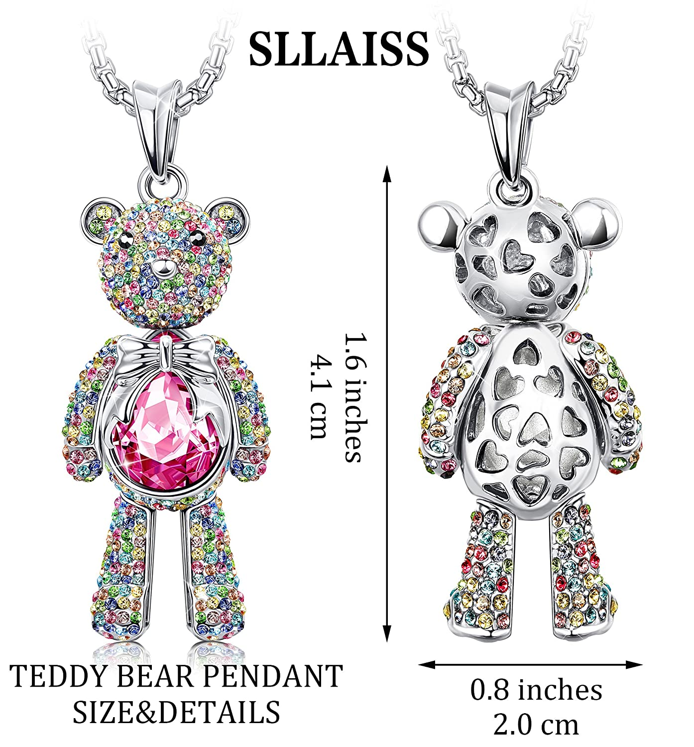 cuddle teddy bear crystal products spinningdaisy necklace pendant
