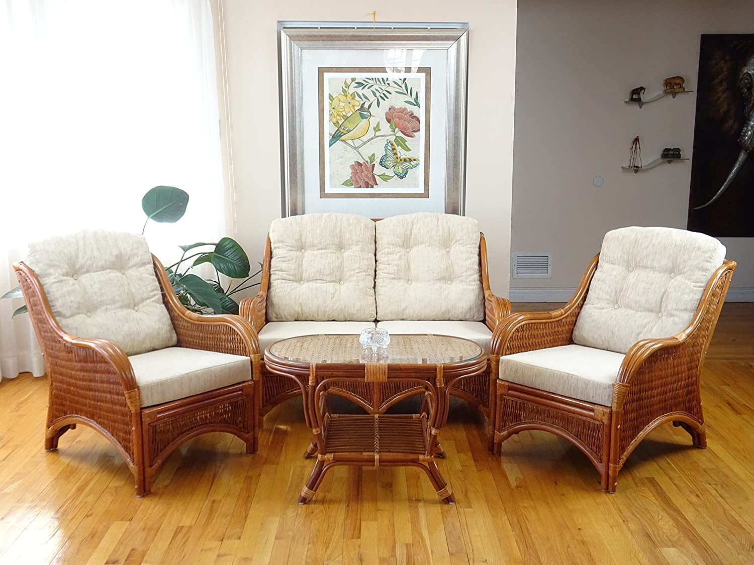 Jam Rattan Wicker Living Room Set 4 Pieces 2 Lounge Chair Loveseat sofa Coffee Table Colonial Light Brown . Cream Cushions.