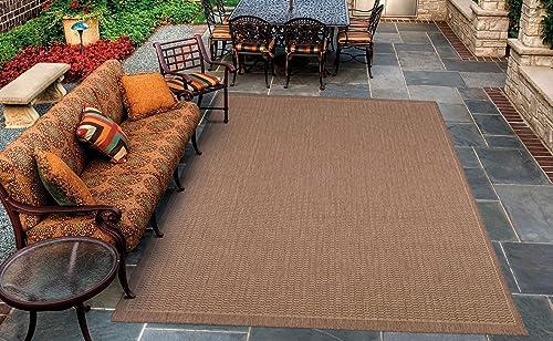 Couristan Recife Saddle Stitch 1001 1500 Indoor Outdoor Area Rug, 7 6 x 10 9 , Cocoa