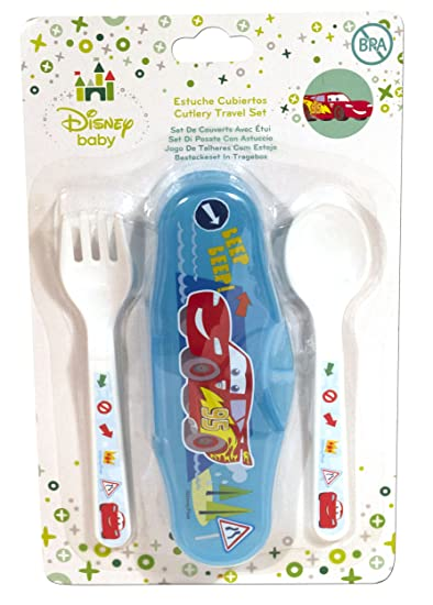Pixar Cars Lightning McQueen 2 Piece Travel Cutlery Set