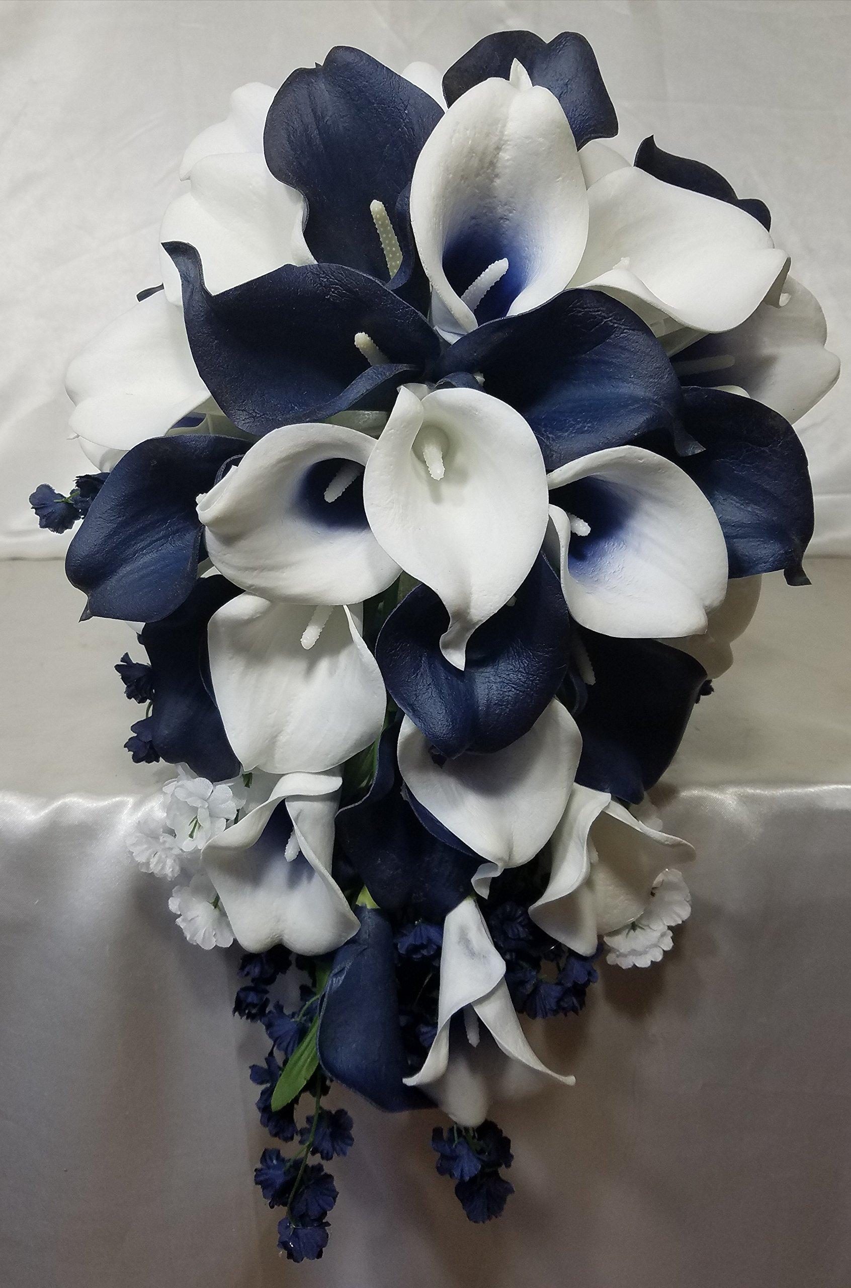 silk flower arrangements navy blue ivory white calla lily bridal wedding bouquet accessories